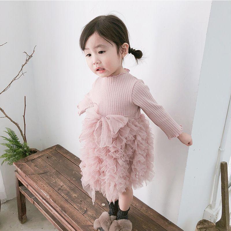232676d4aae9 Baby Girl Kids Clothing Dress Long Sleeve Mesh Patchwork Tutu Dress ...