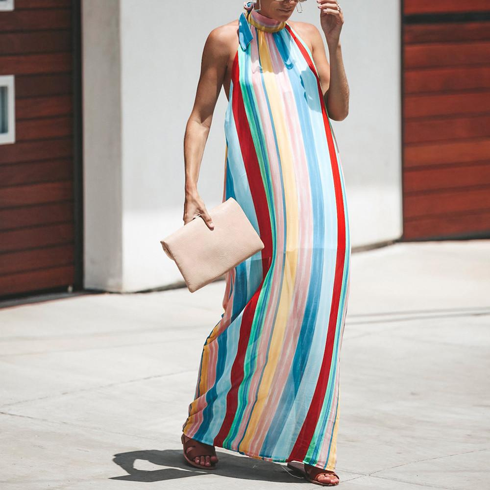 412fce3a2b2 Women Summer Long Dress Rainbow Color Striped Backless Sexy Dresses Fashion  Lady Halter Sleeveless Loose Maxi Dress  EP Plus Size Party Dress Buy Dress  From ...