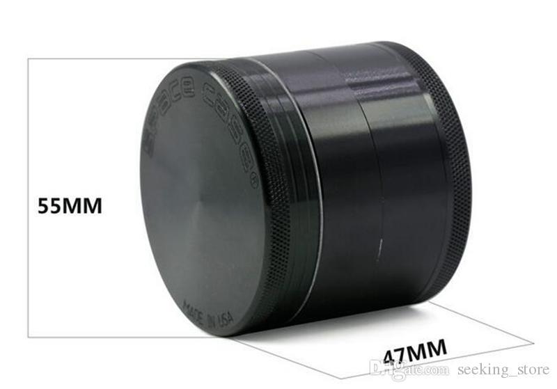 SPACE CASE Metal Herb Grinder 55mm Diameter Herbal Grinders Negro aleación de aluminio 4 capas Herb Tobacco Grinder LV550
