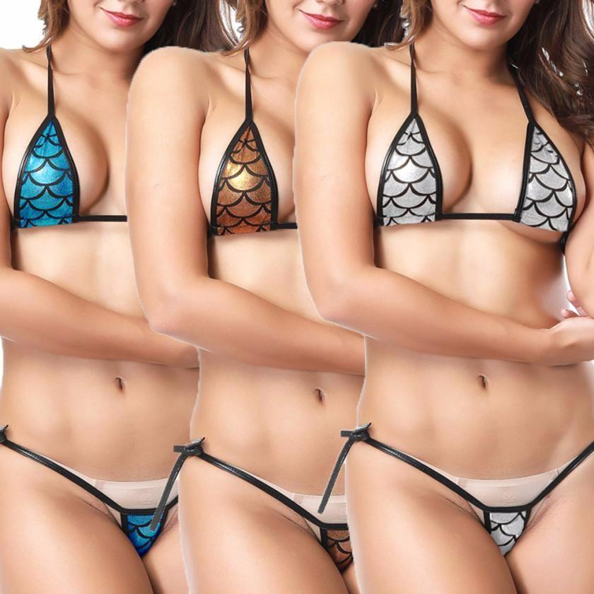 50bb65b9 Bikini atractivo Mujeres Llamativo Bikini Shiny Micro Halter Top + Tanga  Conjunto Traje de baño Tanga