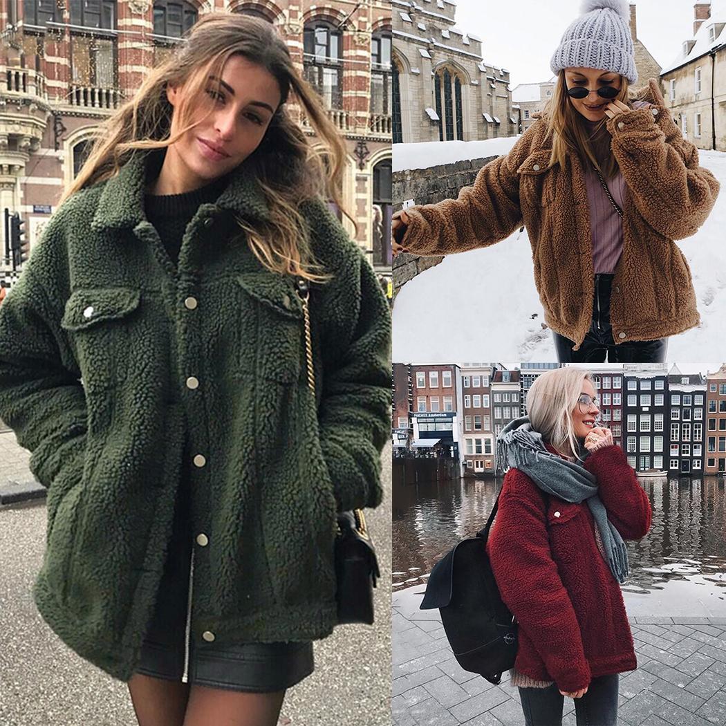 fd264a4f4fa 2019 Women Faux Fur Teddy Coat 2018 Winter Fluffy Warm Jackets Outerwear  Fashion Button Pocket Hairy Coats Female Overcoat Streetwear From Zanzibar