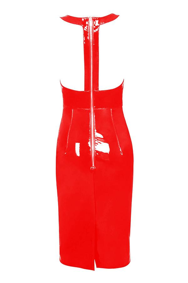 Plus Size Faux Leather Club Dresses For Women Black Red Deep V Neck Sleeveless Bodycon Party Dress In PVC S-6XL
