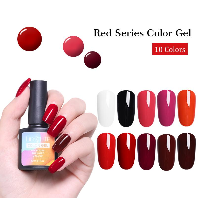 LILYCUTE 8ml Crimson UV Gel Polish Soak Off Nail Varnish LED UV Gel For  Nails Lacquer Red Hybrid Lacquer 90 Colors