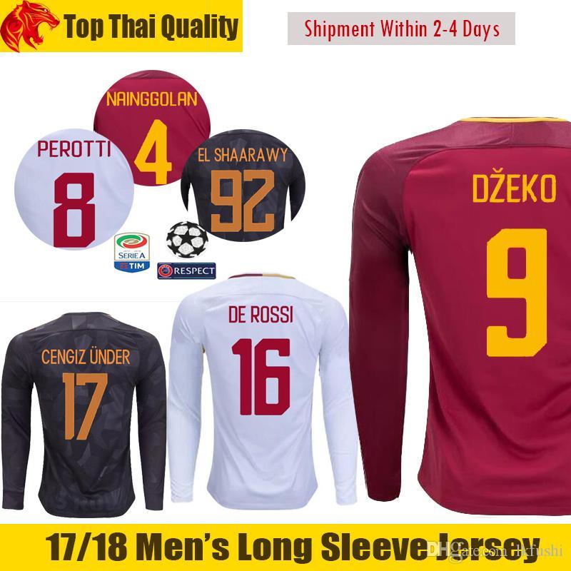 17 18 champion dzeko long sleeve soccer jersey totti 2018 de rossi cengiz under long jersey perotti