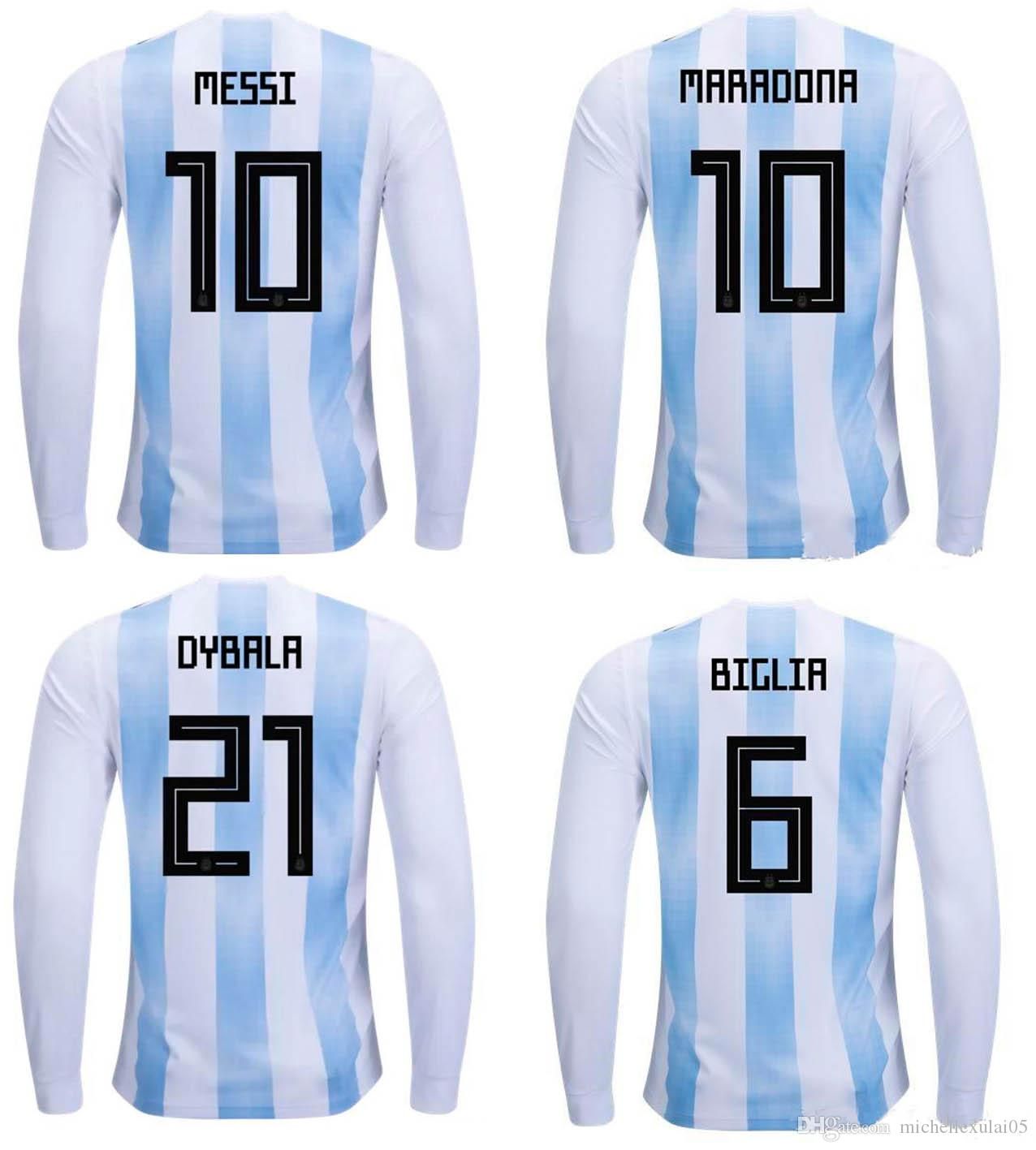 18 19 Argentina Soccer Jersey Messi Aguero Di Maria ICARDI MARADONA Long  Sleeve Football Shirts World Cup 2018 Argentina Soccer Uniforms Full Sleeve  Soccer ...