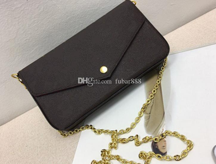 ! New Genuine Leather Fashion Chain Shoulder Bags Handbag Presbyopic Mini Wallets Mobile Card Holder Purse M61276