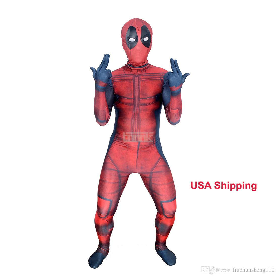 Kids 3D Deadpool 3D X-Men Deadpool Halloween Cosplay Superhero Lycra Spandex Zentai Suits Deadpool Costume (Unisex)