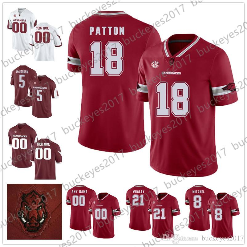 2019 Arkansas Razorbacks  18 Jeremy Patton 21 Devwah Whaley 72 Frank Ragnow  Red White Stitched NCAA College Football Jerseys From Buckeyes2017 2a4f73e16