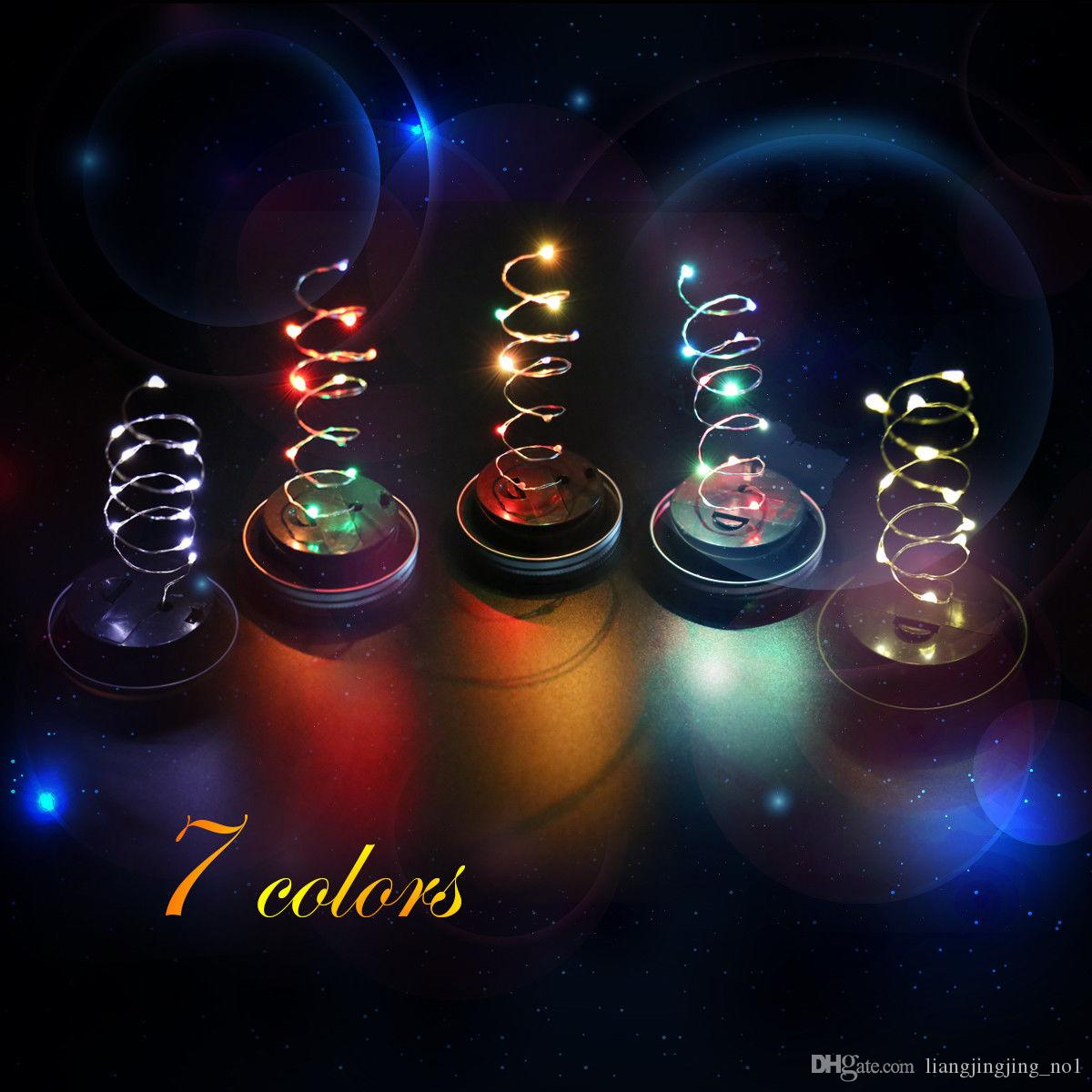 Led Solar Powered Mason Jar Lids Light 10Led String Lights on Silver Lids For Mason Glass Jars Christmas Garden Party Lights BBA256