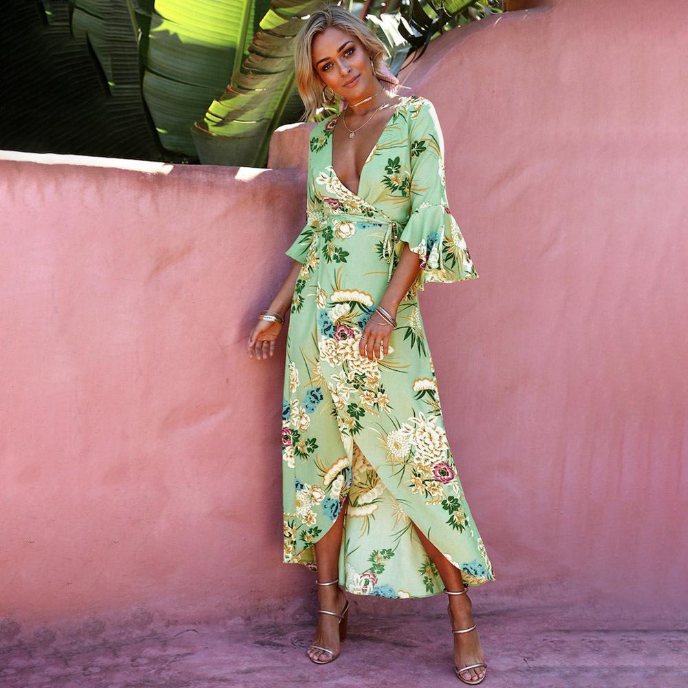 Precise Cotton Linen Girls Dress Summer Beach Sundress V-neck Long Large Flower Short Sleeve Loose Dress Sukienka Vestidos#g10 Women's Clothing