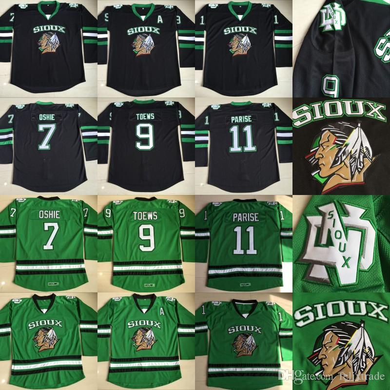 2019 North Dakota Fighting Sioux 9 Jonathan Toews  7 TJ Oshie  11 Zach  Parise Fighting Hawks UND Ice Hockey Jerseys Double Stiched From  Felixtrade 1c3ffd5ae28