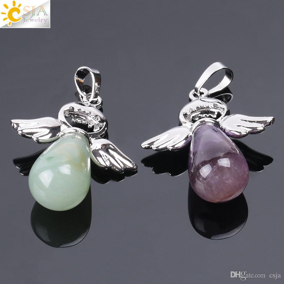 CSJA New Natural Stone Pendant for Necklace Pink Rose Quartz Onyx Silver-color Angel Wings Water Drop Pendants Female Jewelry Gift E949 A