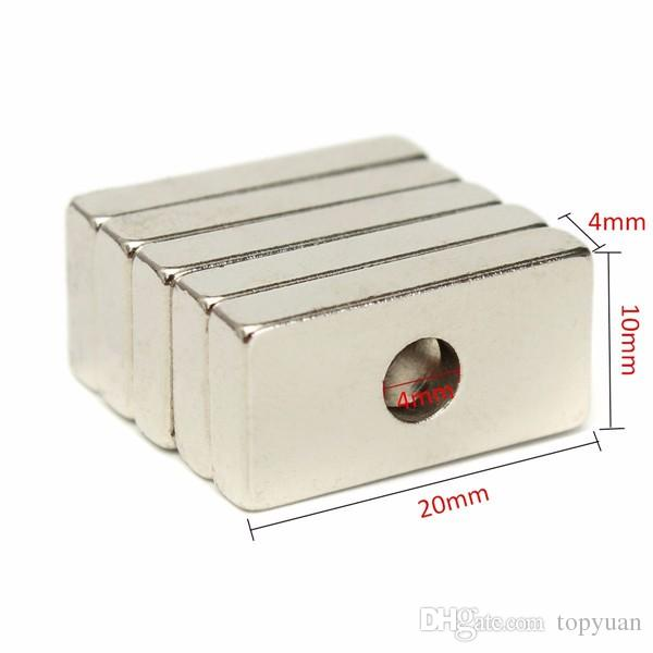 20x10x4mm N35 Strong Cuboid Magnets Rare Earth Neodymium Magnets With 4mm Hole