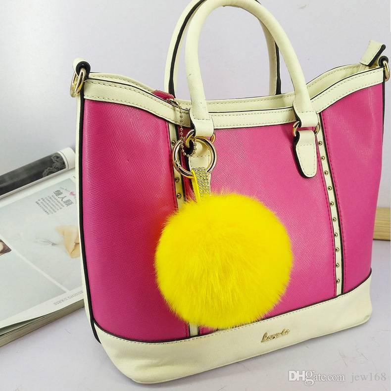 9fae3c2a3 2019 Simulated Rex Rabbit Fur Ball Pom Pom Charm Pendant Keychain With  Rhinestone For Lady Girls Handbag Decor From Jew168, $5.4 | DHgate.Com