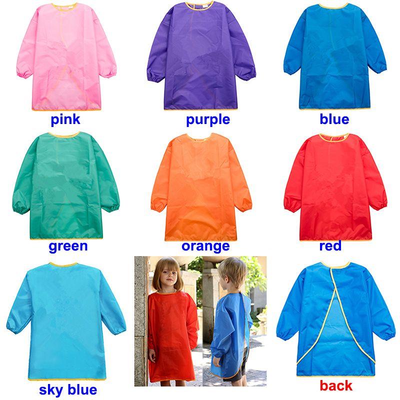 Children Aprons Bib Dress Clothes Baby Waterproof Long Sleeve Smock