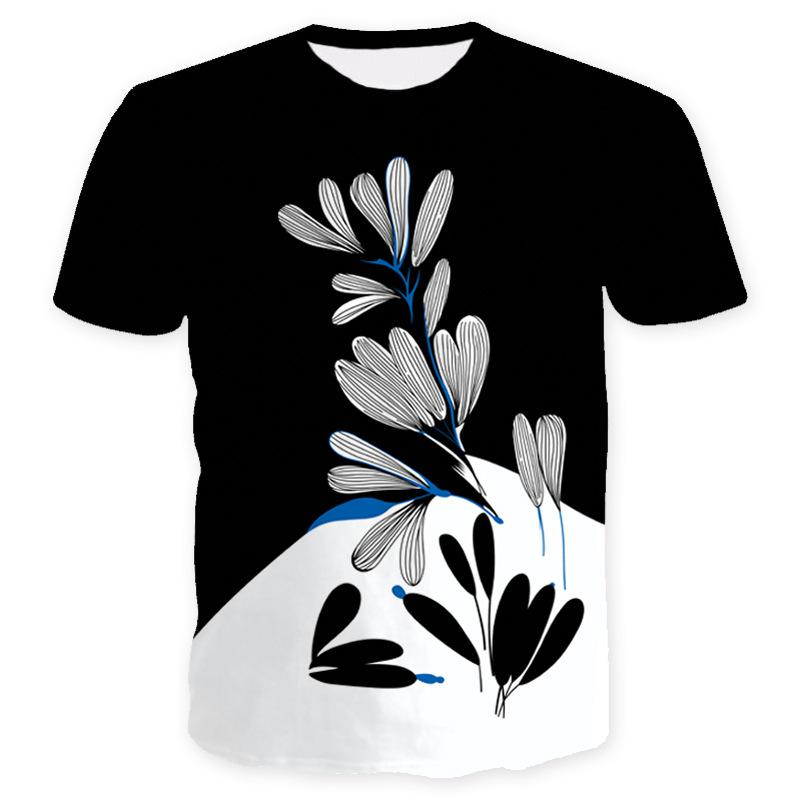 Summer Europe And The United States New Digital 3D Printing T-shirt Street  Youth Short Sleeve Large Size Black And White Floral Group T-shir