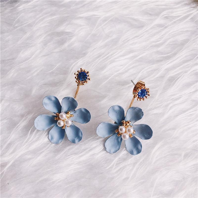 Ajojewel Blanco Rosa Azul Esmalte Flor Oreja Chaqueta Stud Pendientes Joyería Perla Simulada Cristal Pendientes de Las Mujeres al por mayor
