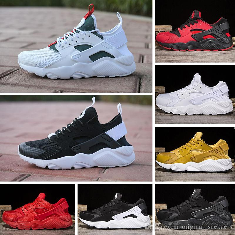 wholesale dealer 9e2bf bee81 Acheter 2018 Nike Air Huarache 1.0 Run Ultra 4 IV Chaussures De Course  Hommes Femmes Huaraches Run Triple Noir Blanc Rouge Multicolor Sneakers  Athletic ...