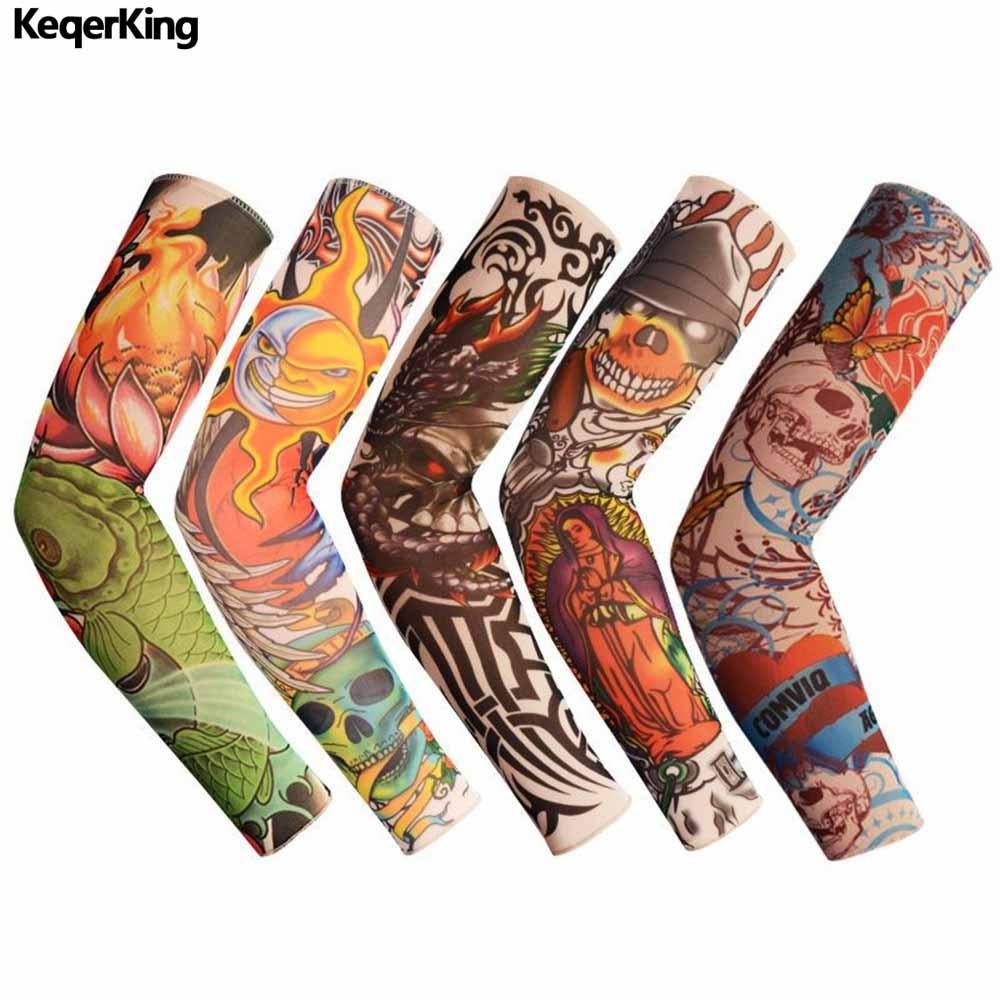 Men's Arm Warmers Fashion Arm Warmer Skin Proteive Nylon Stretchy Fake Temporary Tattoo Sleeves Arm Stockings Design Body Cool Men Unisex Men's Accessories