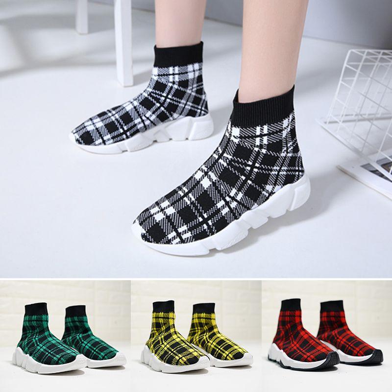 Großhandel 2019 Luxus Damen Socken Schuhe Britsh Britsh Britsh Style Grid Gelb ... 5b6d3d