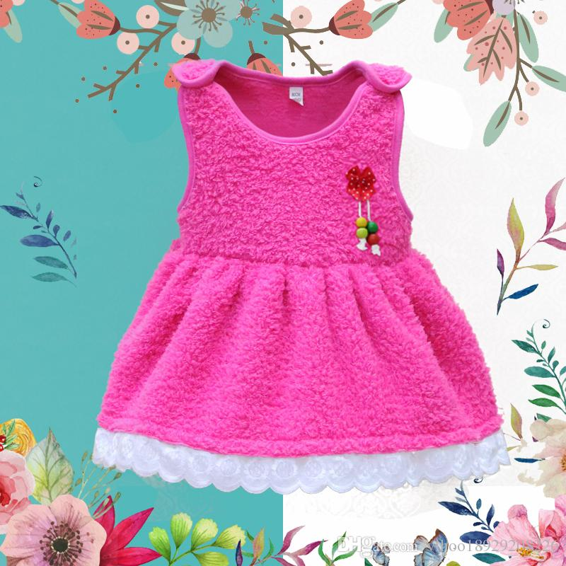 911c53ac8 Coral Fleece Warm Sleeveless Baby Dresses Girls Red Party Dress ...