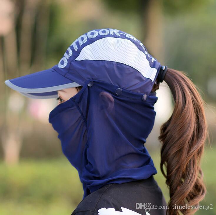 Yaz kadın güneş şapkası yüksek kaliteli 360 ° anti-UV sunbonnet katlama erkekler doğa sporları ayarlanabilir plaj kap güzel böcek ısırıkları önlemek ücretsiz gemi