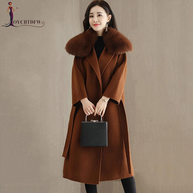 82659d8231d Autumn Womens Woolen Coat Winter 2018 Korean New Imitation Fox Fur ...