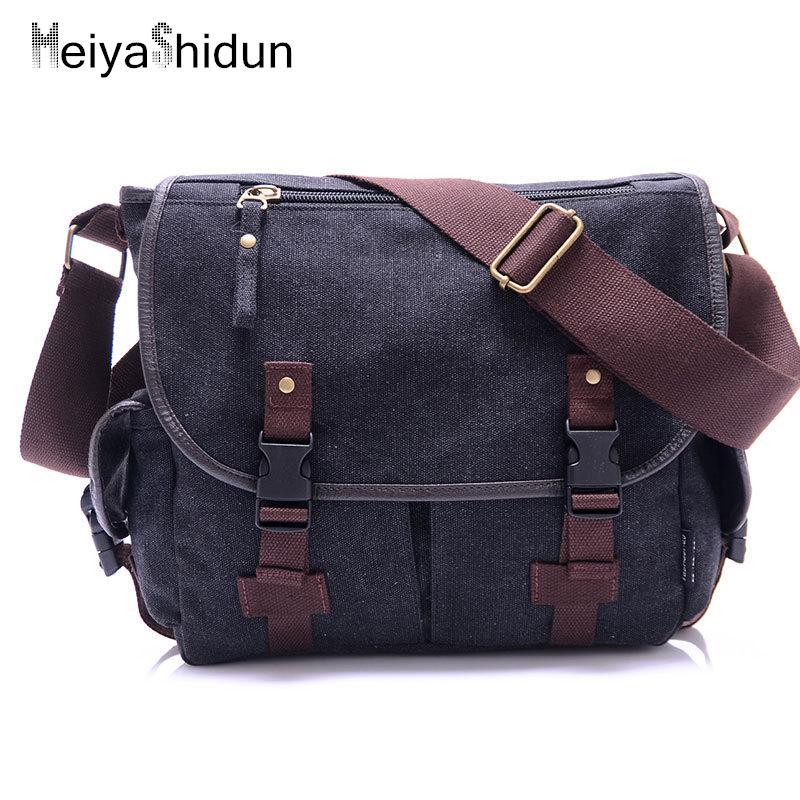 2a6e10c0181f MeiyaShidun Cool Canvas Bag Men s Solid Cover Casual Shoulder School ...