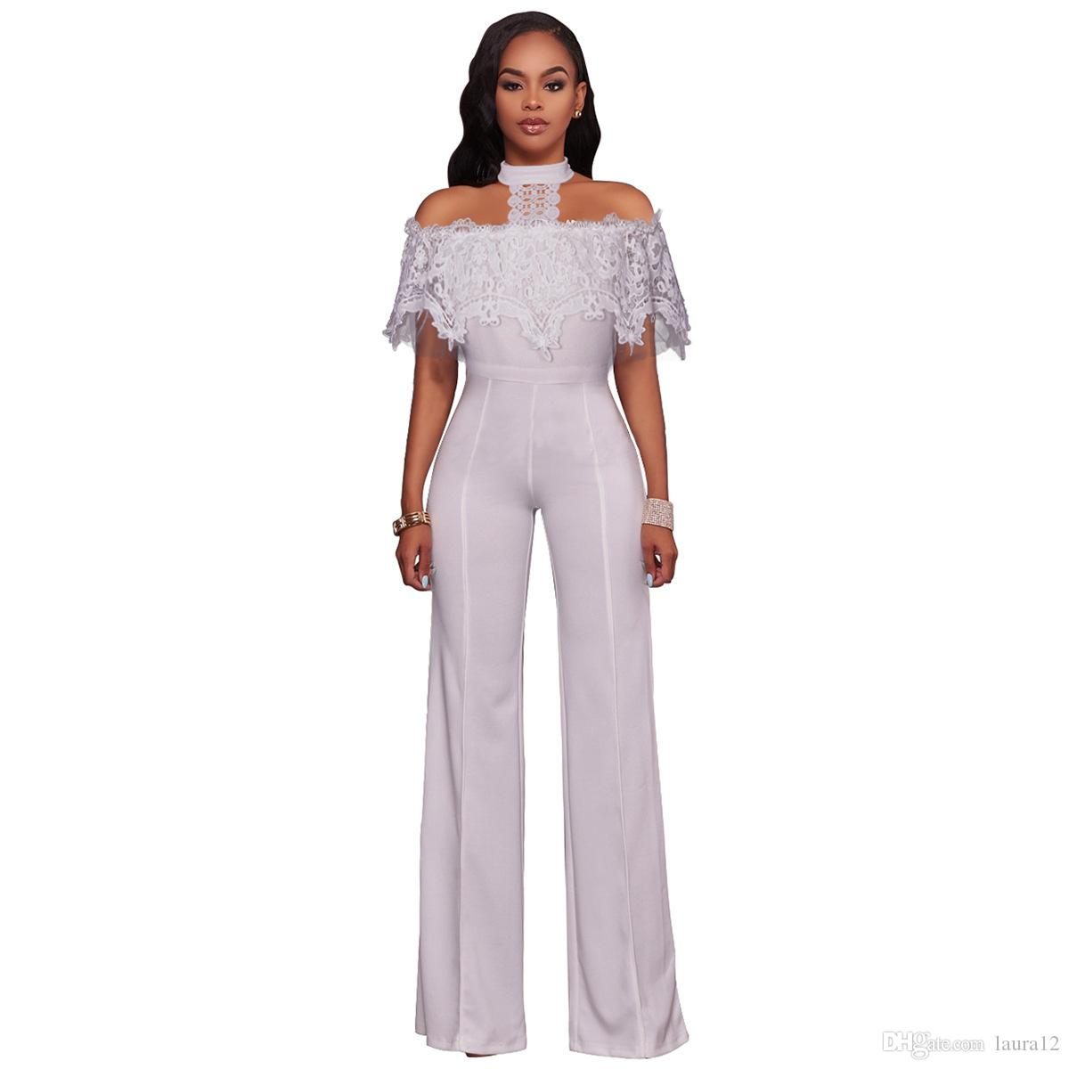 2018 Trendy Fashion Women Women's Jumpsuits & Rompers Sexy Halter Neck Lace Short Sleeves Wide-legged Pants Suits S--XXL