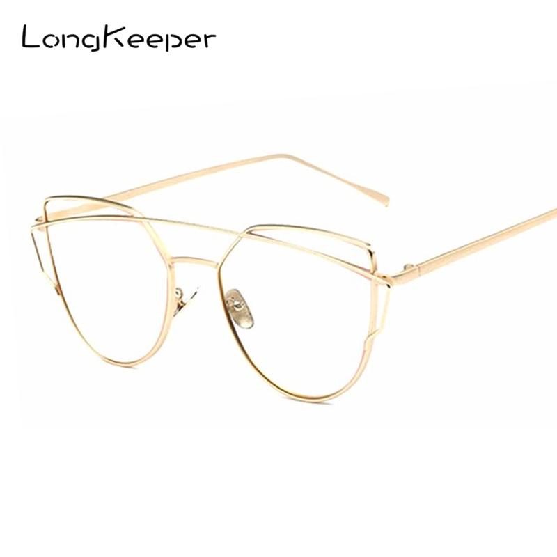 4a5a5b89e29 2019 LongKeeper Fashion Clear Lens Cat Eye Glasses Frame Women Gold Eyewear  Frame Men Eyeglasses Optical Reading Glasses Female From Yuijin