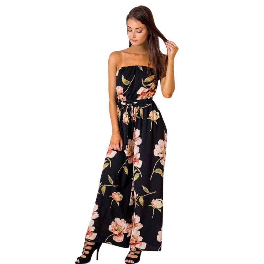 a1f782fb66b Women Off Shoulder Floral Playsuit Ladies Romper Long Jumpsuit Trouser  Monos Cortos De Mujer Combishort Femme Macacao Feminino Online with   39.36 Piece on ...