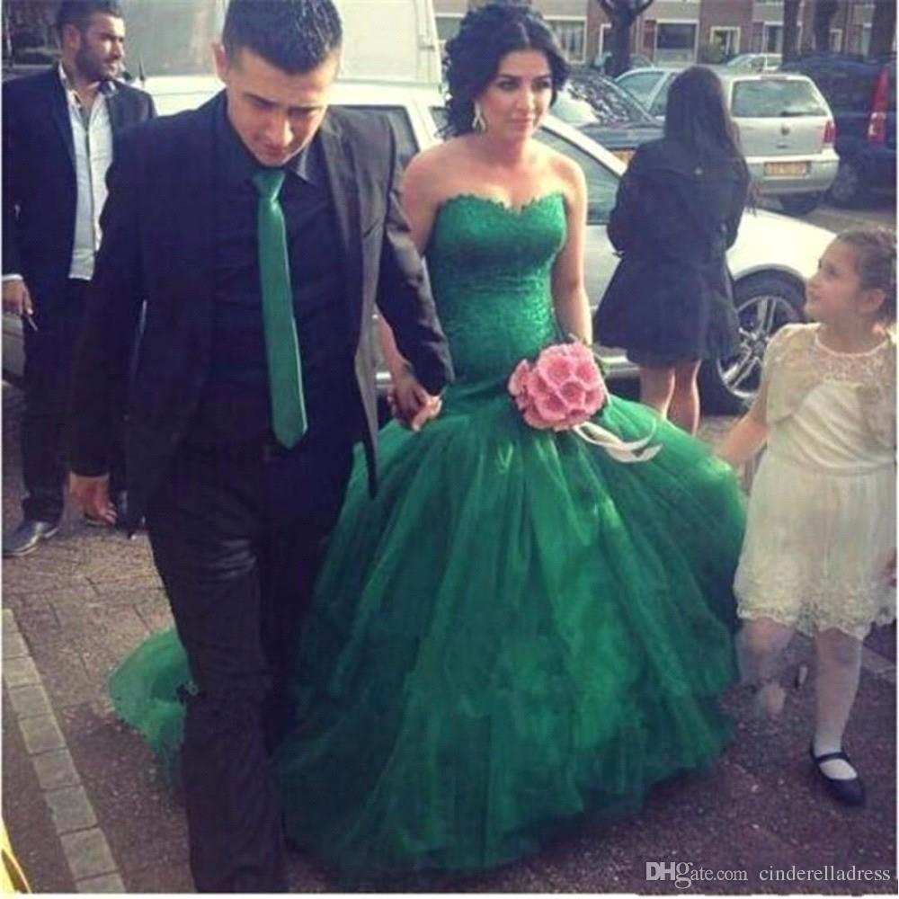 Emerald Green Lace Sweetheart Mermaid Evening Dresses 2018 Layers Cascading Ruffles Skirts Prom Gowns For Bridal Wear BA7883