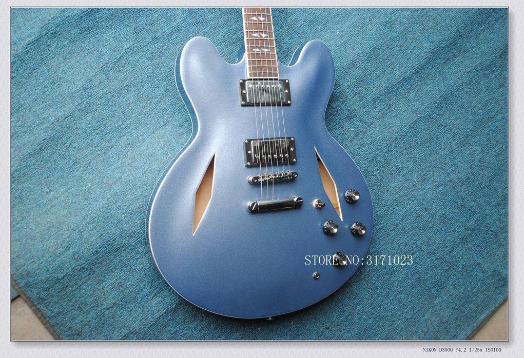 HOT SALE Custom Dave Grohl Signature Metallic blue Jazz Hollow Body Electric Guitar