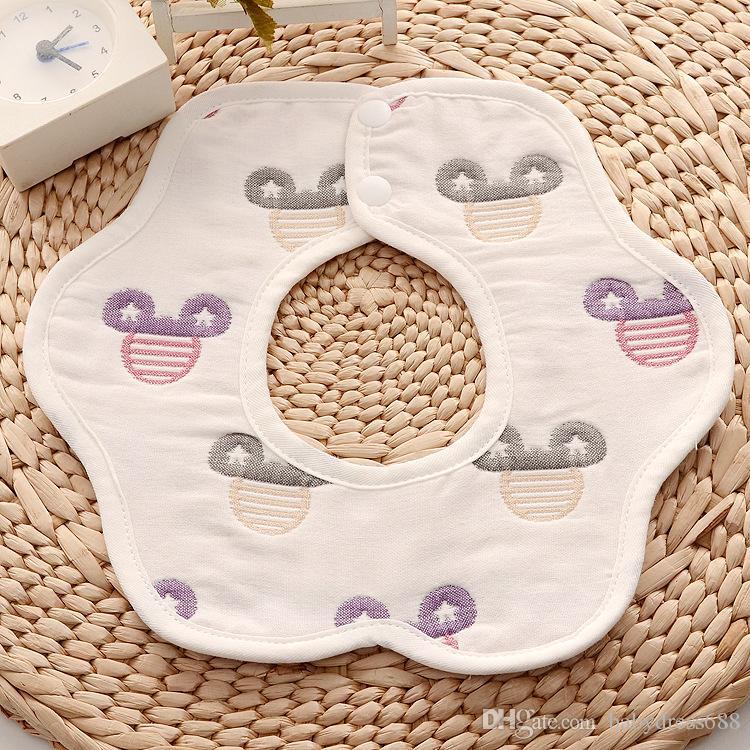 Venta al por mayor de alta calidad baberos del bebé pétalos de algodón toalla de saliva 360 grados de rotación de seis capas a prueba de agua toalla giratoria Snap Burp Paños