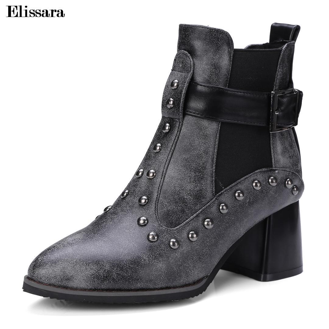 737725a6999 Compre Botas De Tacón Alto Para Mujer Zapatos De Mujer Casual Remache  Hebilla Tacones Grises Botines De Fiesta Zapatos Tamaño 32 47 Elissara A  $64.14 Del ...