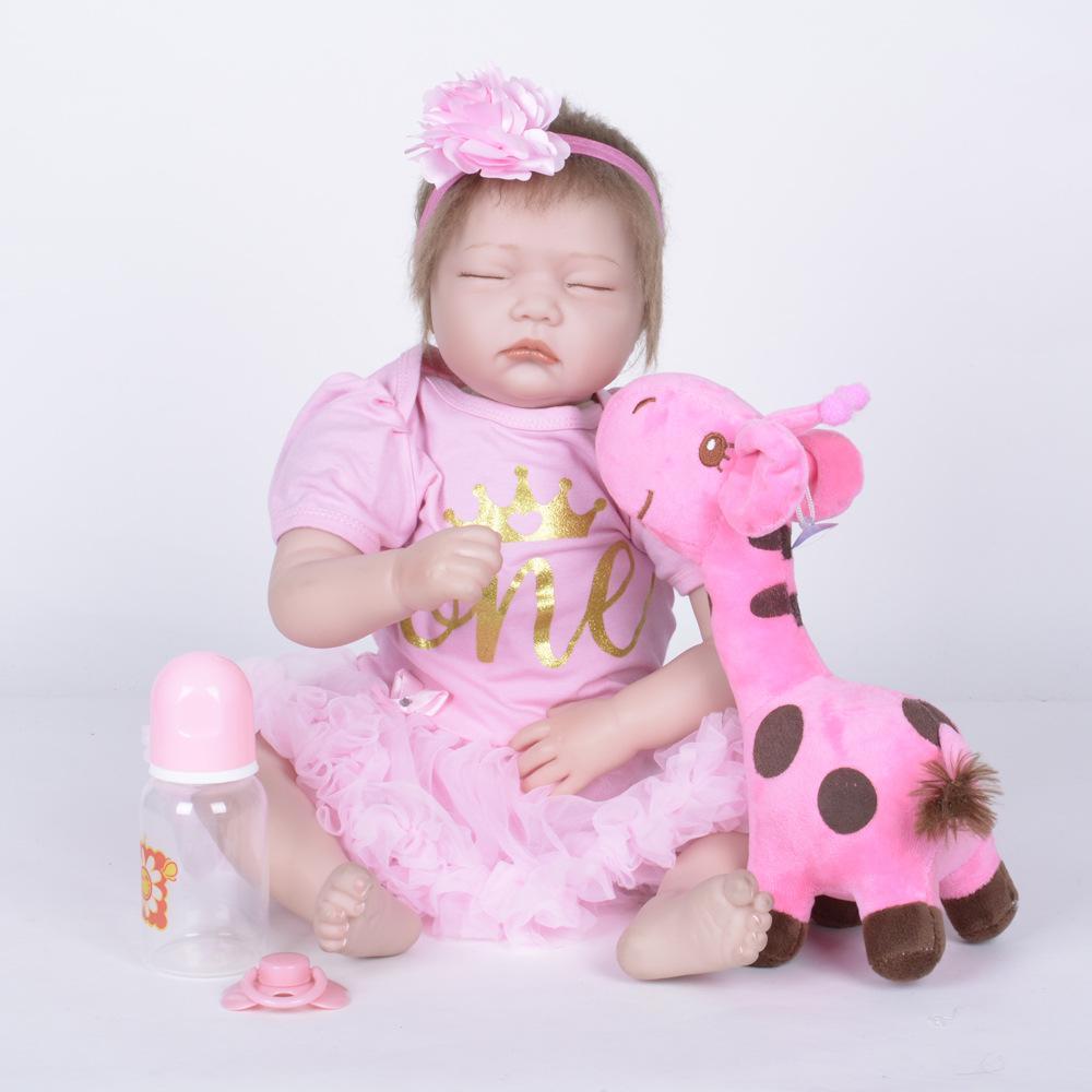 f62e4868b81871 55 cm Encantador Fechado Olhos Princesa Renascer Menina Boneca de Silicone  Macio Do Bebê Recém-nascido com Pano Corpo Brinquedo para Crianças ...