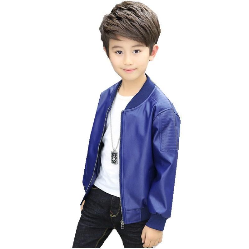 433043af23de 2017 New Spring Autumn Kids Cool Leather Jacket Boys Fashion ...