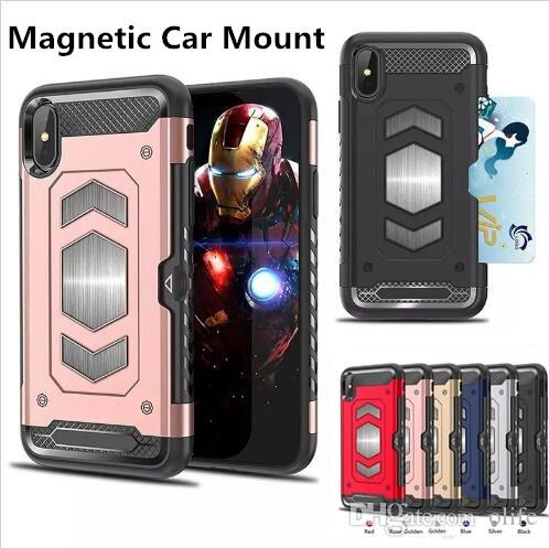 Magnetic Car Mount Dual Layer Hybrid Armor Phone Case Shockproof TPU PC Cases Cover with Card Slot For iPhone X 8 7 6 6S Samsung S9 S8 plus