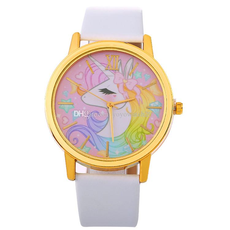 YOYO Wholesale kids children boys girls cartoon unicorn leather watch fashion women ladies casual roma bowknot dress quartz watches