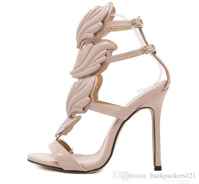 Flame metal leaf Wing High Heel Sandals Gold Nude Black Party Events Shoes Size 35 to 39