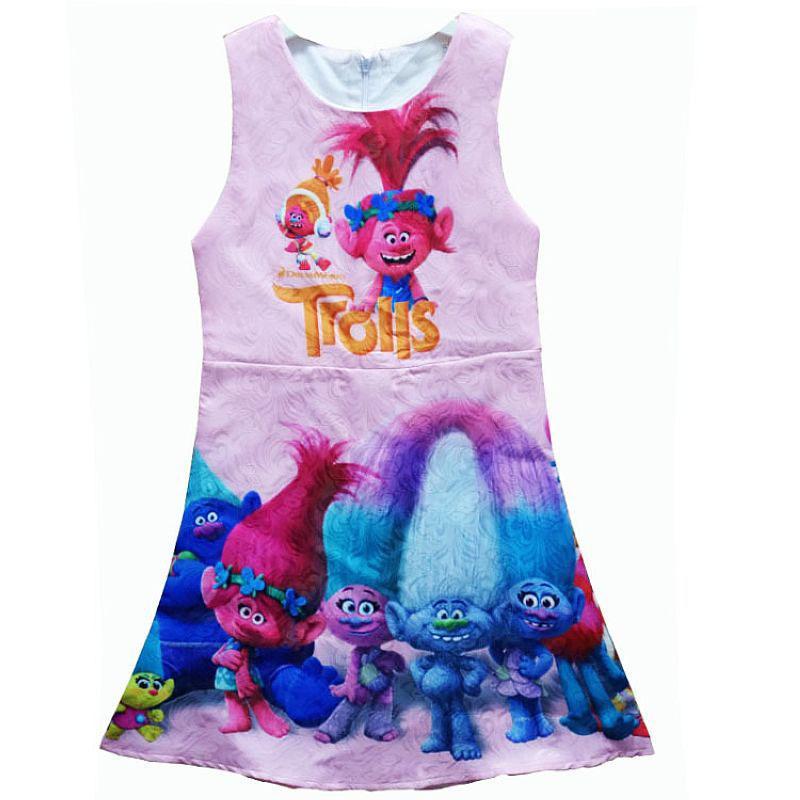 Trolls Dress Kids Costumes for Girls Dresses 2017 Brand Baby Girls Summer Dress Princess Robe Enfant Children Clothing