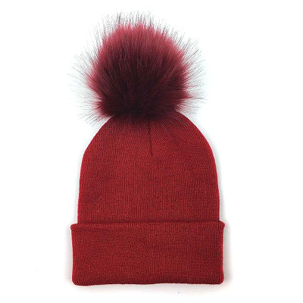 Accessories Hats & Caps Newborn Kids Baby Boy Girl Hat Winter Warm Fluffy Ball Crochet Knit Beanie Cap
