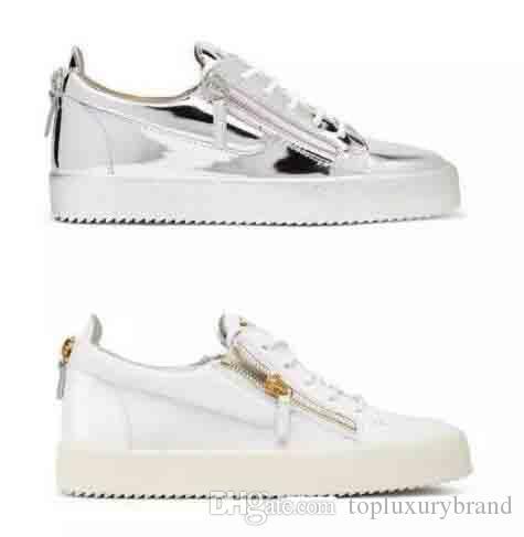 e4fc65280d2 Europe America Men Designer Shoes Zipper Flat Leather Men s Women s ...