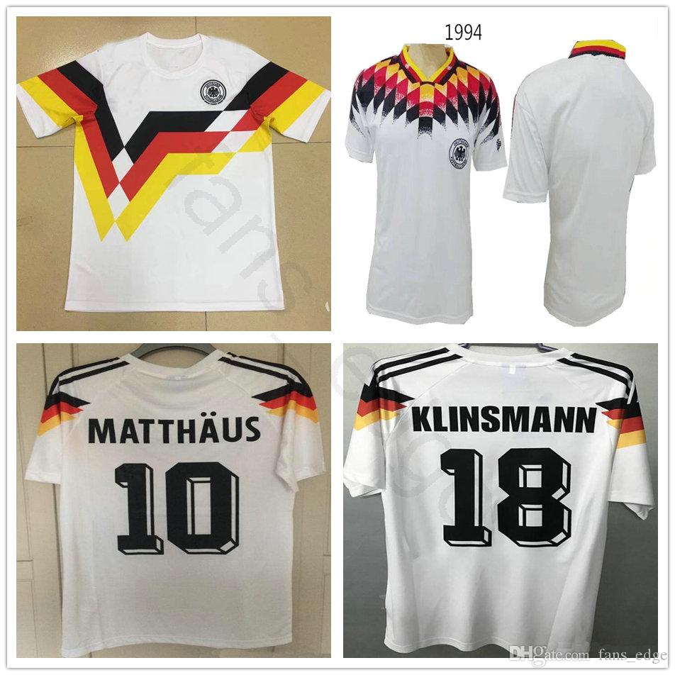 87c3d5144 2019 1990 World Cup Germany Retro Soccer Jersey 18 KLINSMANN 10 Matthaus  1994 Home White Deutschland Classic Vintage Custom Football Shirt From  Fans edge