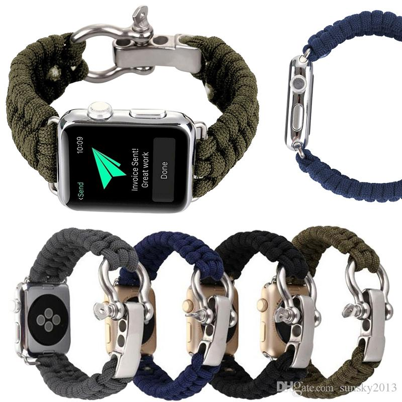Umbrella Rope Band for Apple Watch Sport Nylon Watch Strap for iWatch 4 3 2  1 Woven Watchband Bracelet for Hiking 38mm 40mm 42mm 44mm