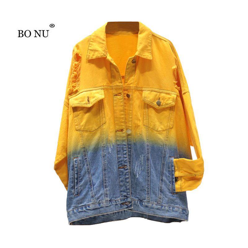 6e5c410925313 BONU Gradient Denim Jacket For Women Long Sleeve Women S Windbreaker Jean  Coat Single Breasted Women Casual Plus Size Jacket Rain Jackets Waterproof  Jacket ...