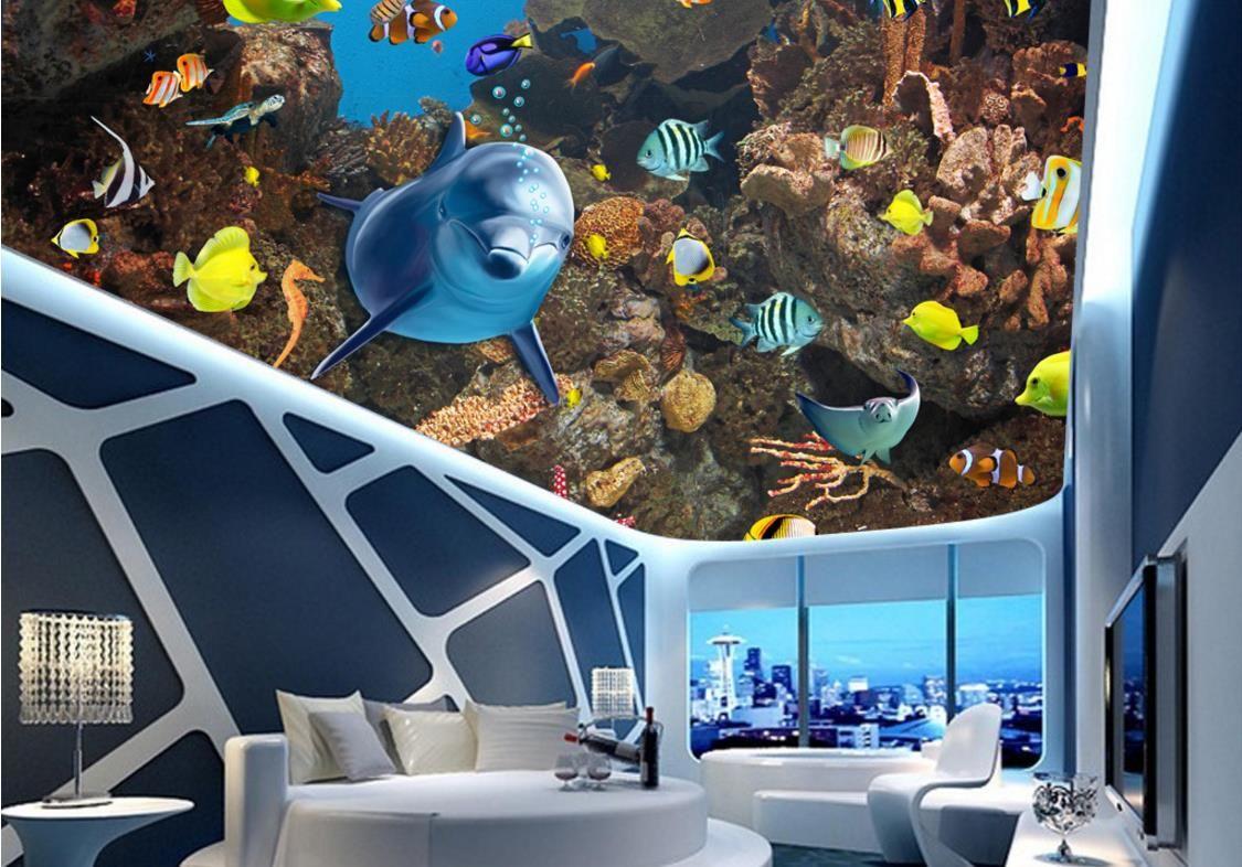 bathroom 3d wallpaper Beautiful underwater world creatures zenith ceiling ceiling murals PVC Self-adhesive Floor