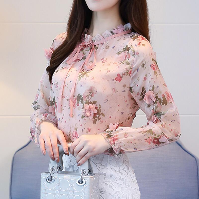 16375c1fee058 Spring Autumn Chiffon Shirt Blouse Fashion Vintage Floral Printed Stand  Collar Bow Female Blouse Long Sleeve Lady Shirt Top XXL