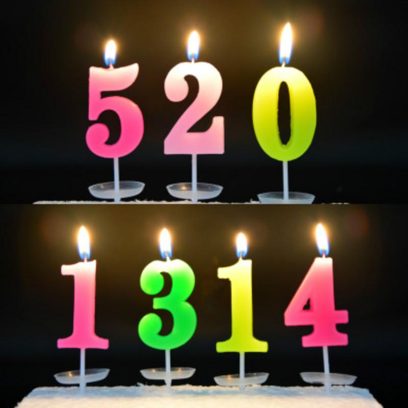 0 9 Number Birthday Digital Candles With Bottom Bracket Creative Party Romantic Color Cake For Decoration Scented
