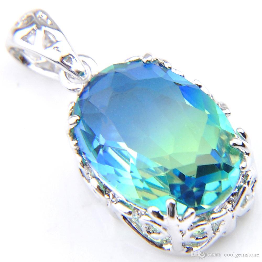 Luckyshine 925 sterling silver exquisite Vintage Green Bi-Colored Tourmaline Gemstone Silver Wedding Necklace Pendants